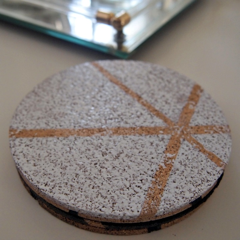 DIY gold, black and white painted cork coasters