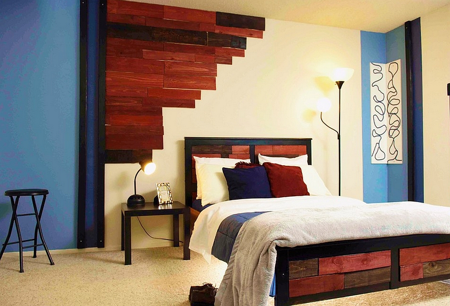 Wonderful way to incorporate color into the bedroom without disturbing its masculine appeal
