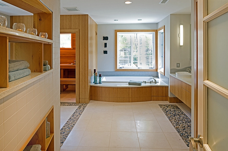 Wood gives a sense of inviting warmth to the contemporary bathroom