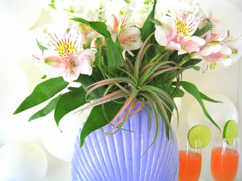 A Deco vase filled with alstroemeria