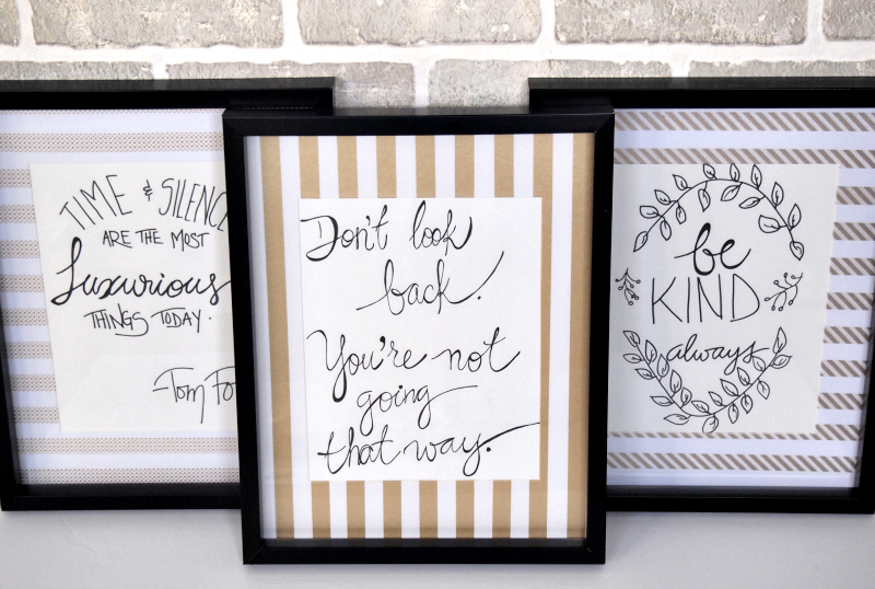 A beautiful display with the three DIY crafted frames