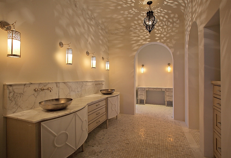 Bathroom Light Design Decor Spanish Revival And Moroccan Styles In The Luxurious Master Bathroom