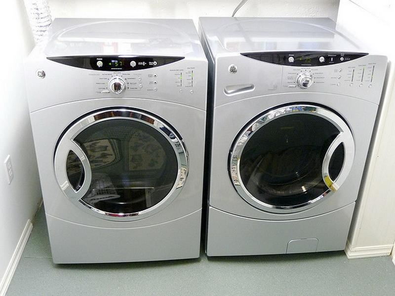 A front-loading washer and dryer