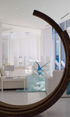 A modern sculpture in a living room designed by Jennifer Post