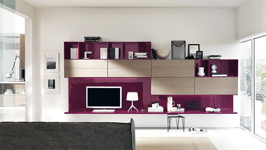 A touch of Amethyst elegance for the living room wall unit