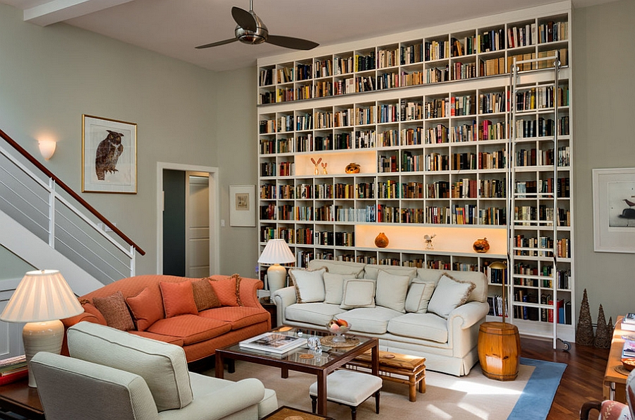 A wall of books for the living room A Study In Style: Trendy Ideas To Creatively Decorate Your Home With Books