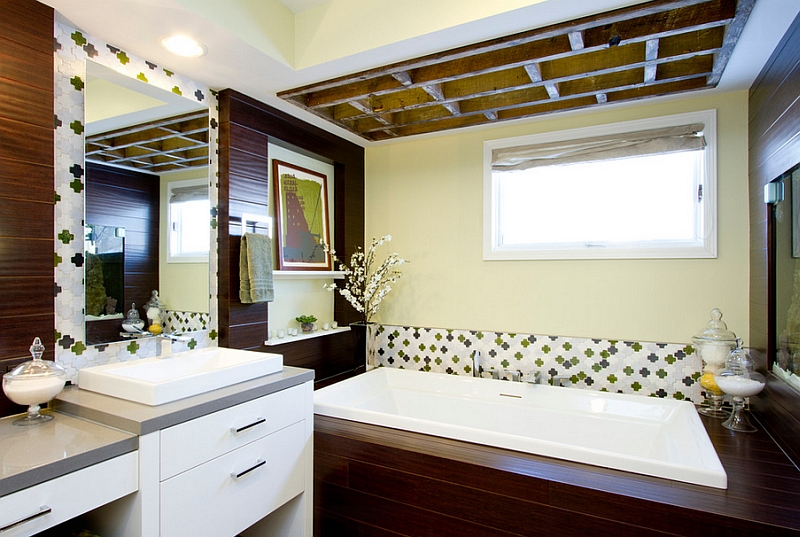 Add a subtle Moroccan flavor to the bathroom with the right tile
