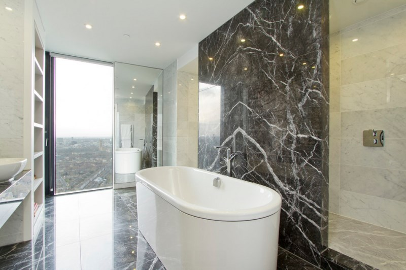 Bathroom with marble walls and flooring
