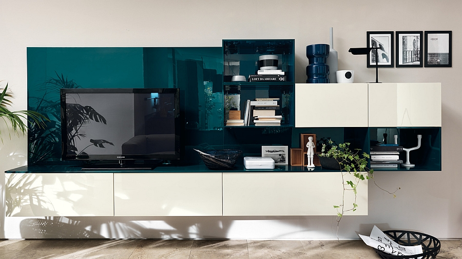 Beautiful Baltic Blue brings colorful zest to the living room wall unit