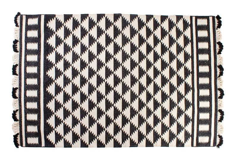 Black and white triangle rug