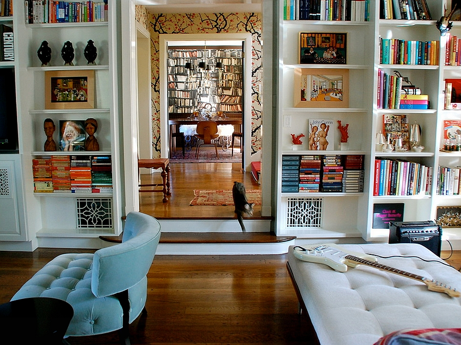 Books bring refreshing color to the eclectic living room [Design: Lisa Borgnes Giramonti]