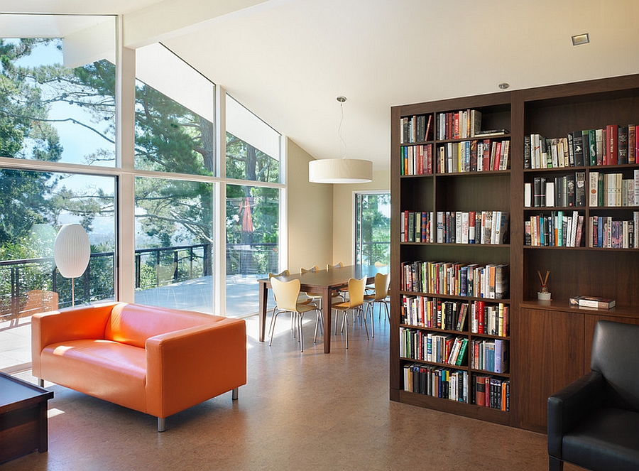 Bookshelf used as a room divider in the open floor plan