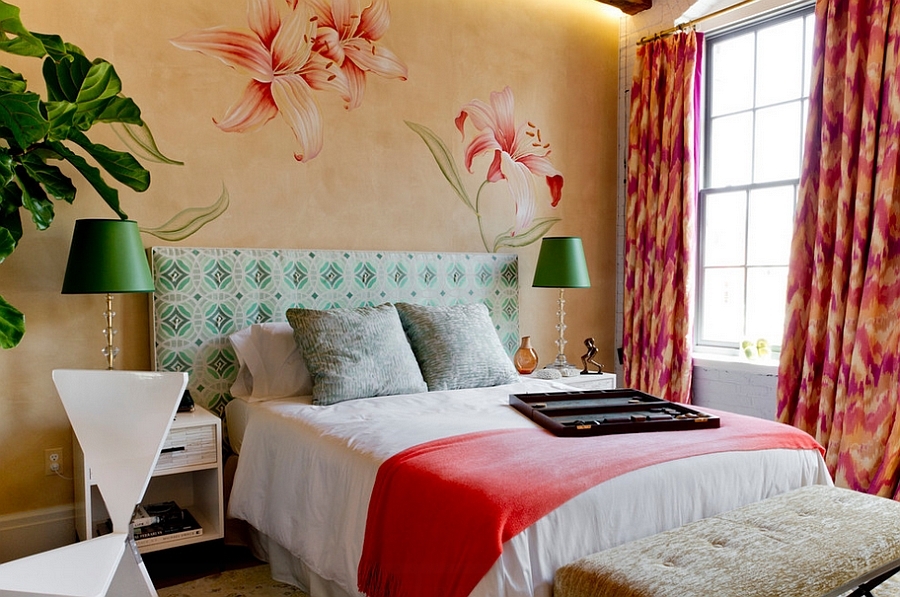 Feminine bedroom ideas decor and design inspirations for Bright bedroom wallpaper