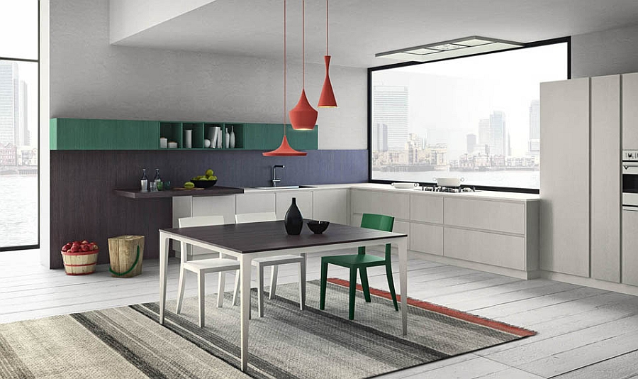 Bright pops of color meet modern minimalism with Grafica Kitchen Modular Italian Kitchen With Streamlined Design And Adaptable Style