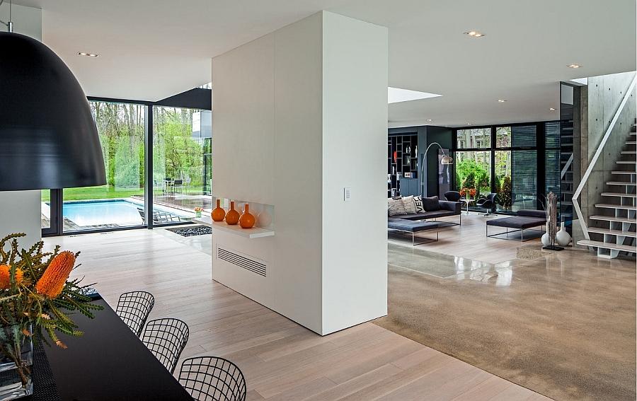 Bright pops of orange enliven the stylish interior