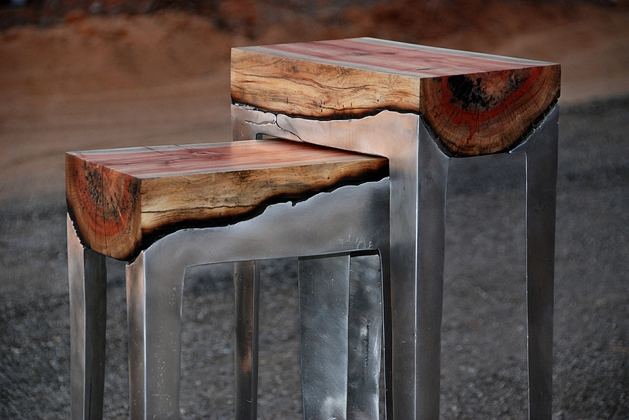 Cast aluminum and tree trunk stools from Hilla Shamia Metallic Magic Meets Wooden Warmth In An Ingenious Modern Decor Fusion!