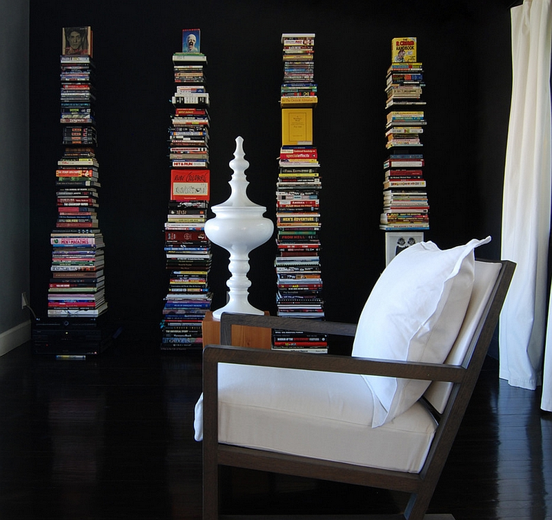 Casual and classy way of decorating with books for the kids-free home