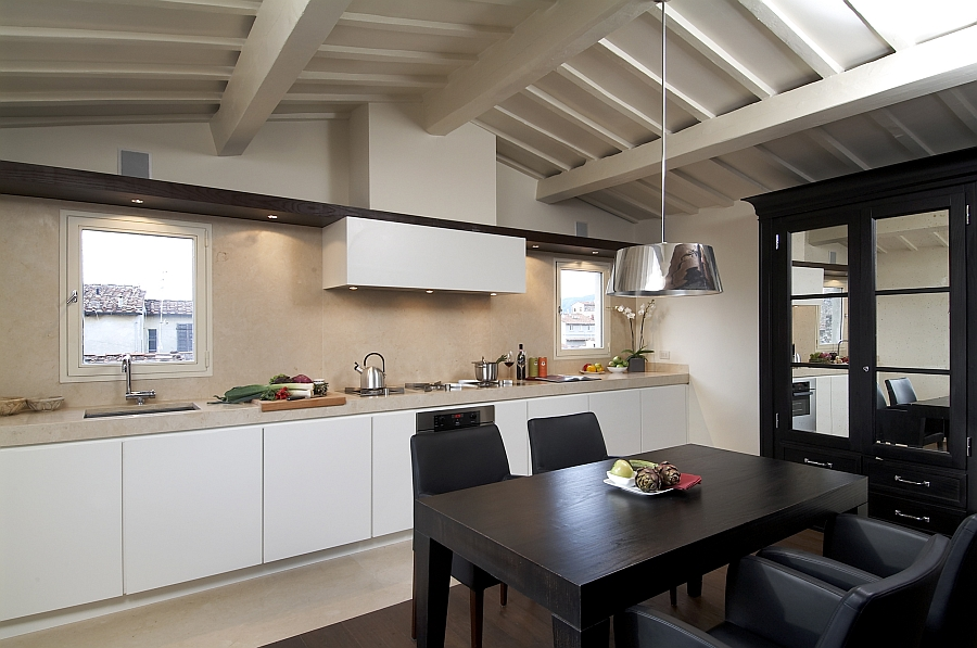 Ceiling beams add style and character to the interior