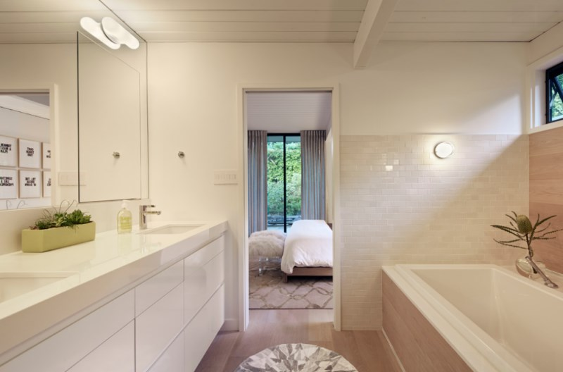 Clean-lined spa bathroom