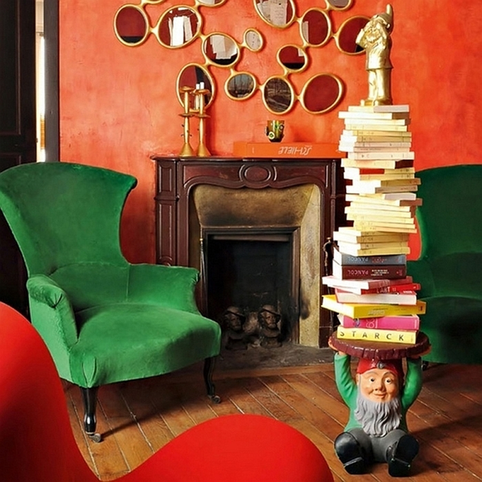 Colorful and eclectic living room with gnome table