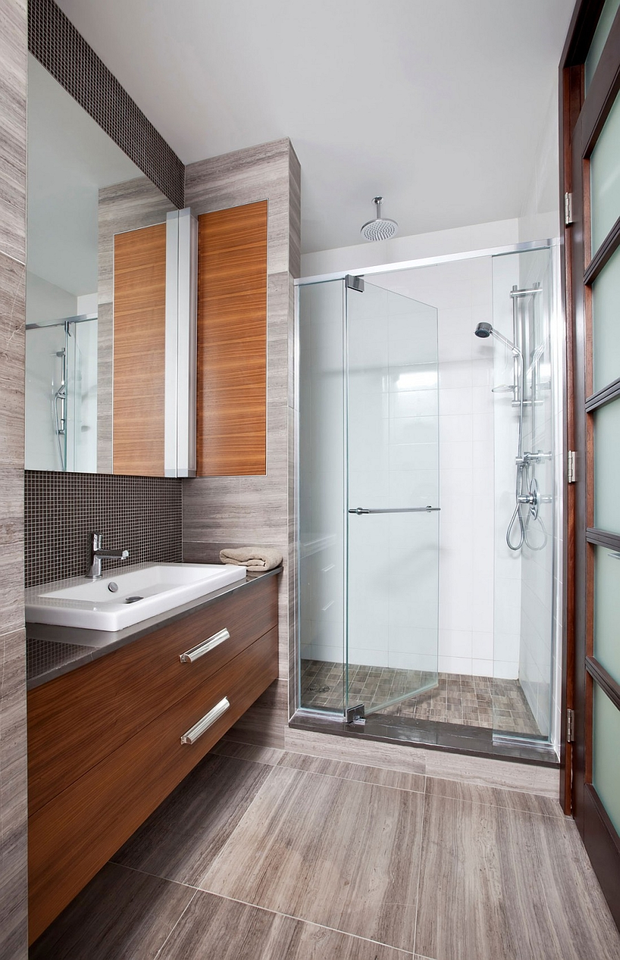 Contemporary bath with a glass shower enclosure