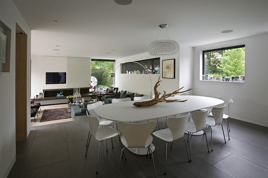 Contemporary dining area with the Caboche chandelier