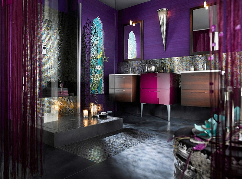 Contemporary reinterpretation of a lavish Moroccan bathroom