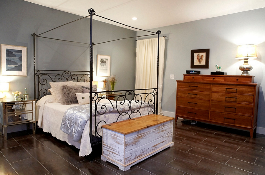 Contrasting textures enhance the aura of the bedroom [By Theresa Seabaugh Interior Design]