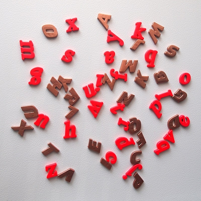 Copper and hot pink spray painted magnets