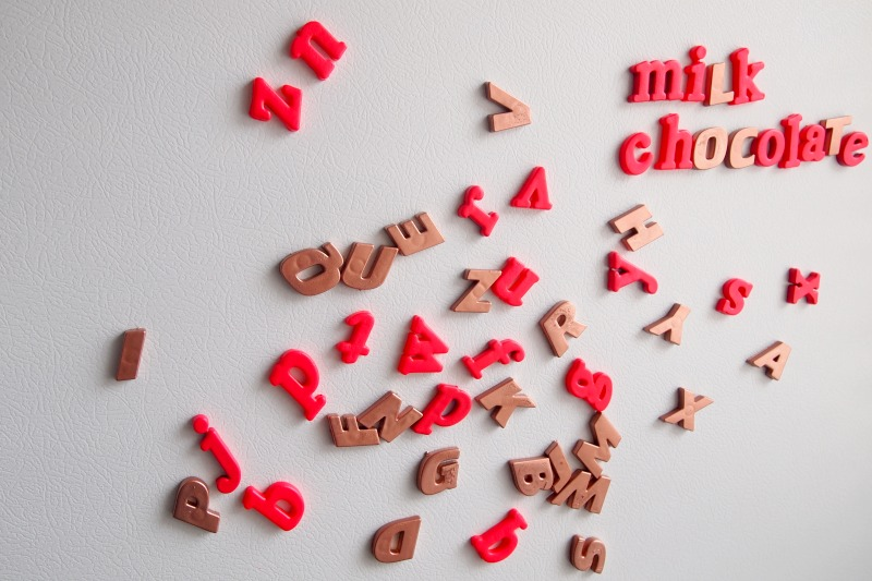Copper and pink magnet letters DIY project