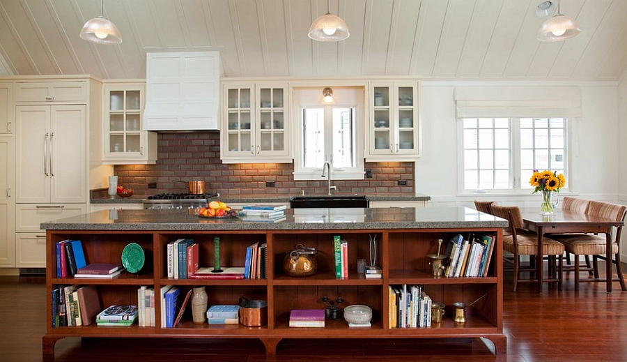 Cozy, cottage style kitchen with a smart island