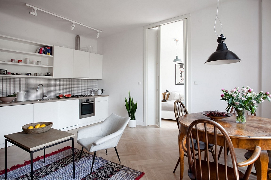 Creative use of space in the small apartment with an open floor plan