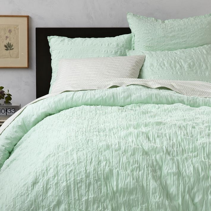 Crinkled bedding from West Elm