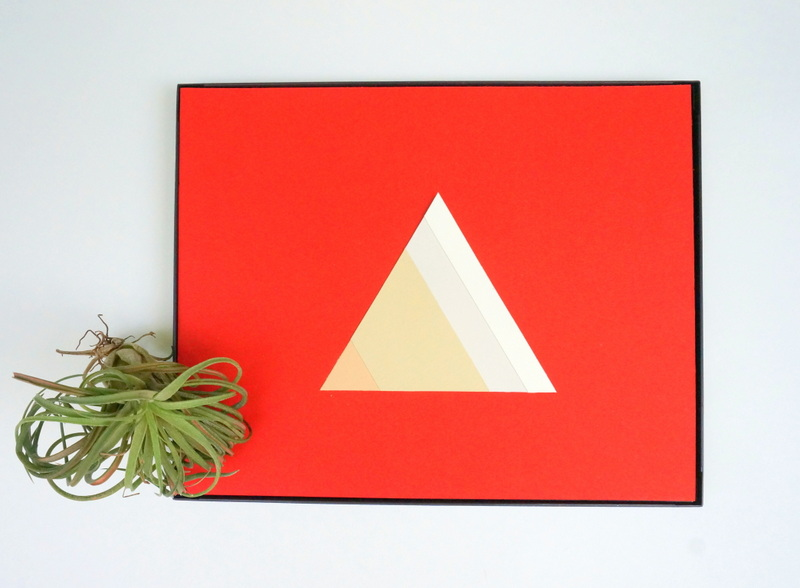 DIY red paper art with stripes