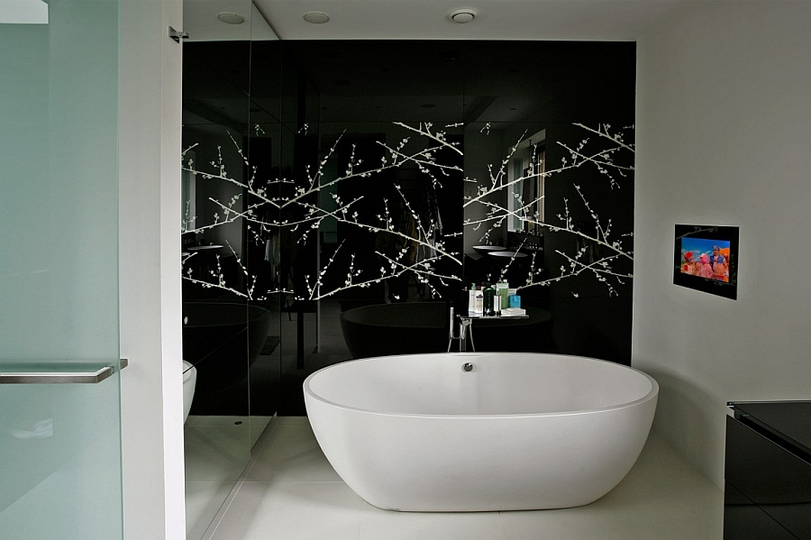 Dark backdrop elevates the appeal of the standalone tub