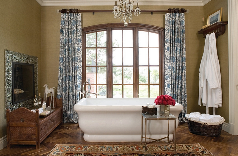 Drapes and Decor give the bath a Moroccan appeal [Design: Andrea Schumacher Interiors]