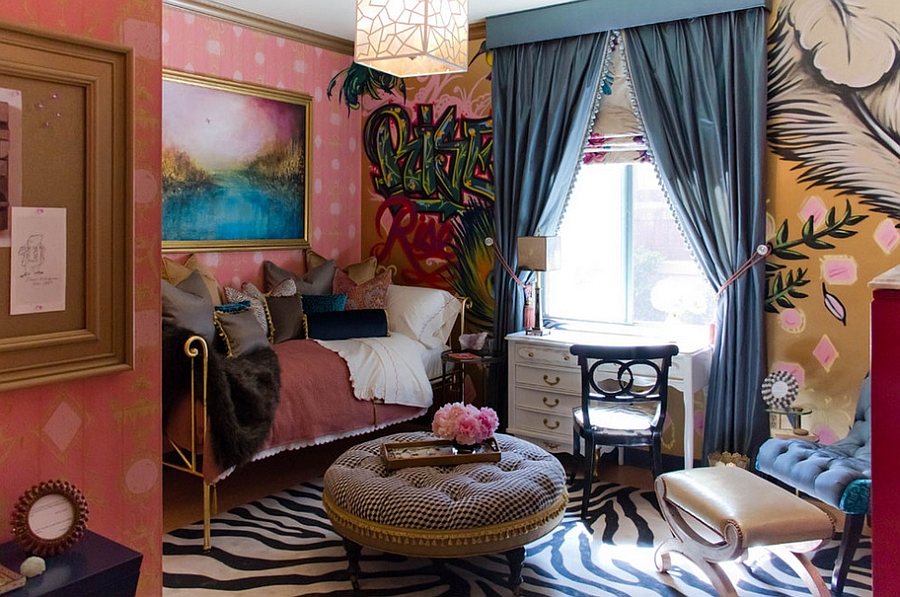 Eclectic feminine bedroom with a distinct bohemian style [Erika Bierman Photography]