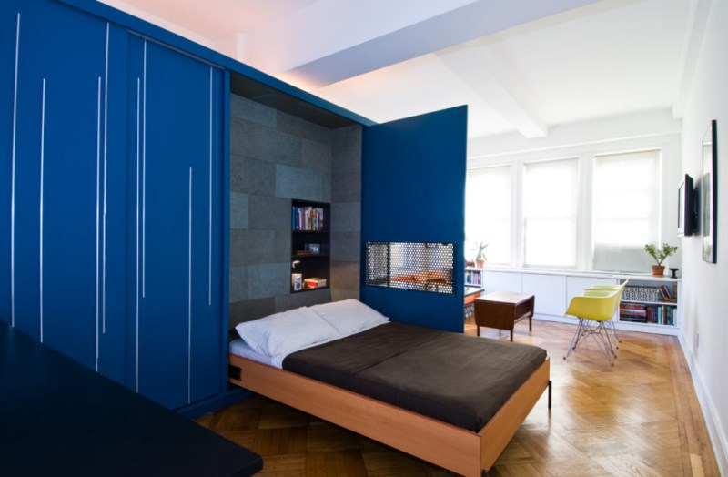 Efficiency apartment with a clever space solution