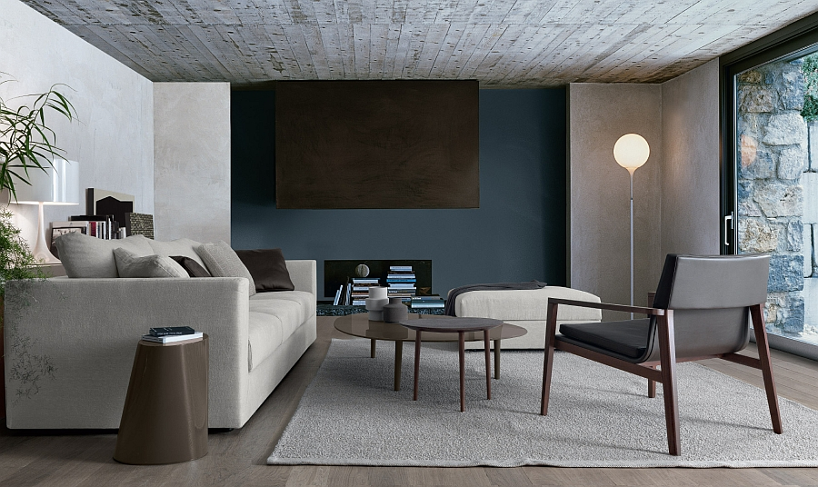 Elegant coffee tables add Mdcentury modern appeal to the room