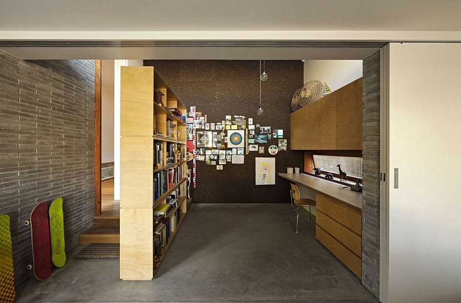 Ergonomic modern home office in the Sydney home with ample storage