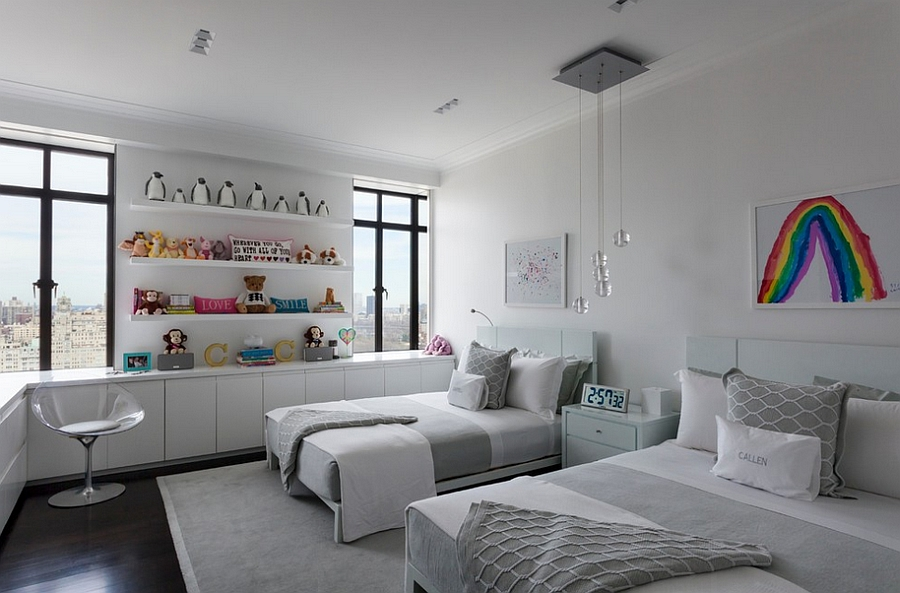 EroS Swivel chair neatly tucks into the corner of the kids' bedroom [Design: Rusk Renovations]