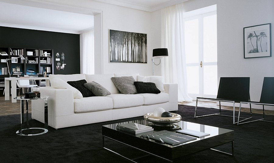 Fabulous black and white living room composition with trendy decor