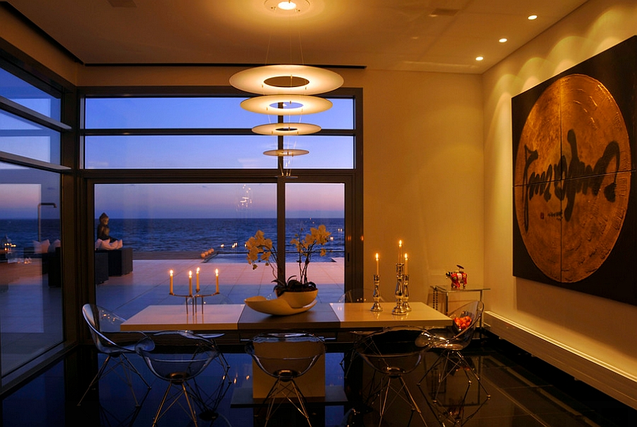 Fabulous dining room with Eros Chairs that blend into the backdrop