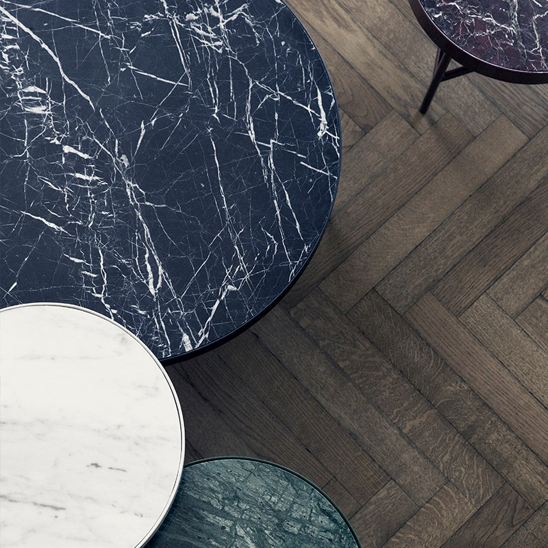 Ferm Living's marble and metal tables