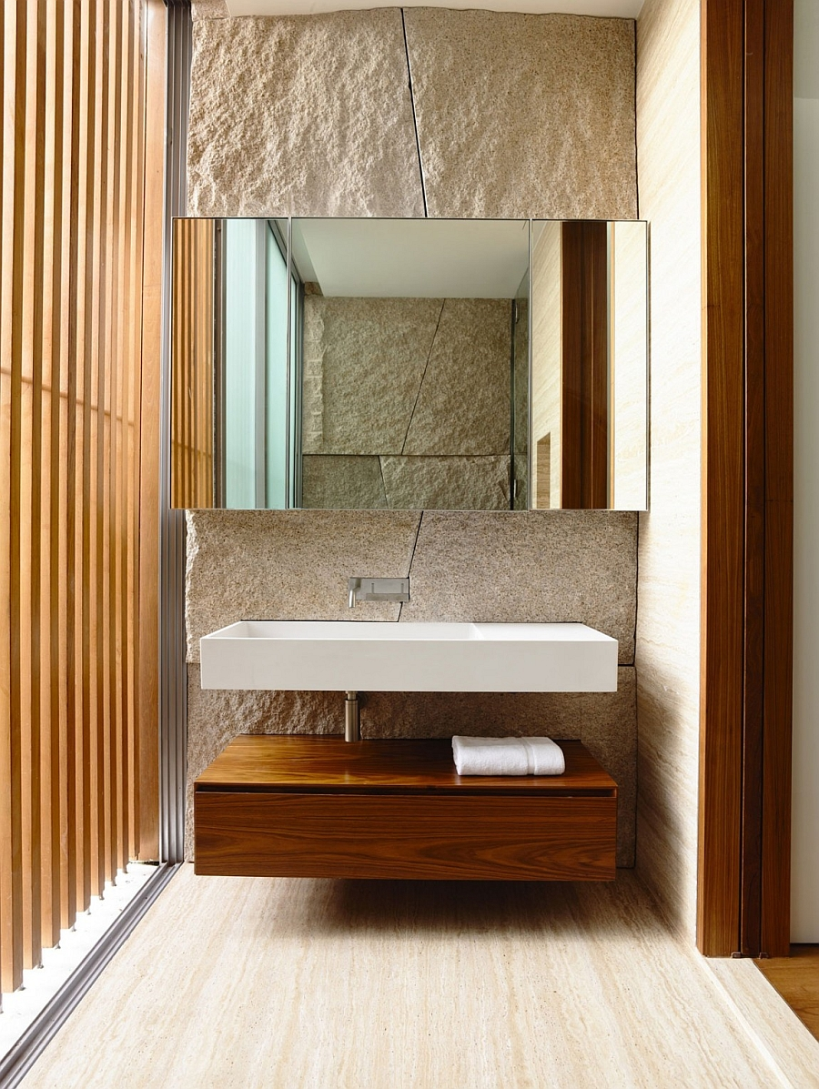 Floating bathroom vanity and sink in the luxurious bath
