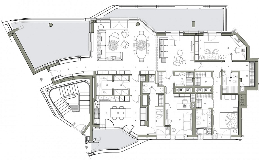 Floor plan of the City Life Milan apartment