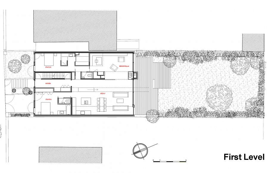 Floor plan of the first level of the eco-friendly house