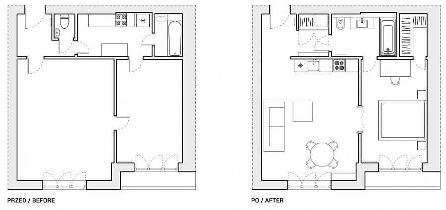 Floor plan of the renovated apartment in Warsaw - Before and After