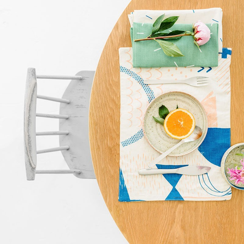 Geometric placemat with colorful details