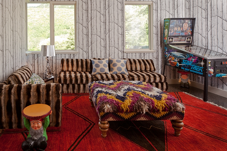 Gnomes add stylish playfulness to the hip family room!